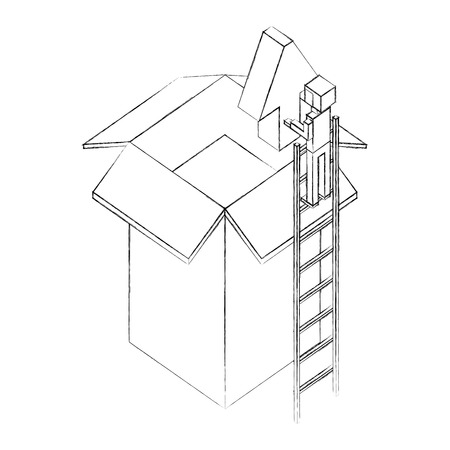 businessman holding upload arrow box storage isometric vector illustration sketch Illustration