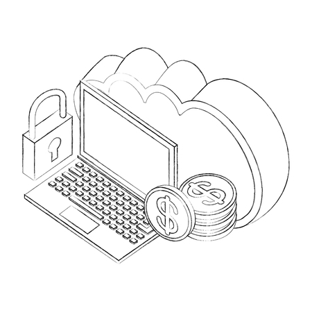 cloud storage laptop money coins and padlock isometric vector illustration sketch