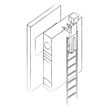employee in stairs with books learning isometric vector illustration sketch