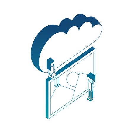 cloud storage people and photo gallery vector illustration blue neon