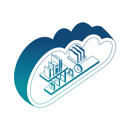 cloud storage computing books music photo file clock isometric vector illustration blue neon 向量圖像