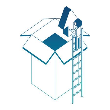 businessman holding upload arrow box storage isometric vector illustration blue neon
