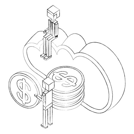 businessman man holding coins cloud storage isometric vector illustration sketch Banque d'images - 102108825