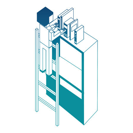 man employee in stairs putting books on bookshelf isometric vector illustration blue neon