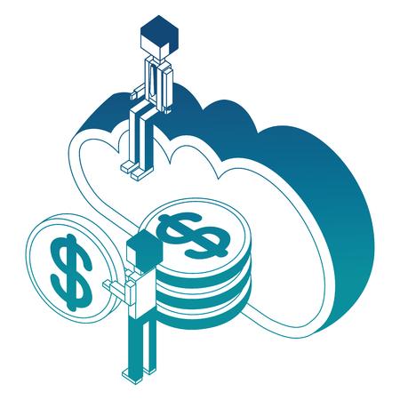 businessman man holding coins cloud storage isometric vector illustration blue neon