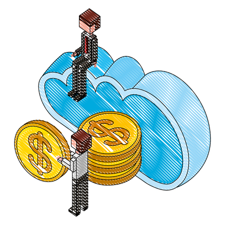 businessman man holding coins cloud storage isometric vector illustration drawing