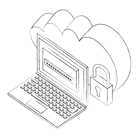 cloud storage laptop password and padlock security isometric vector illustration sketch