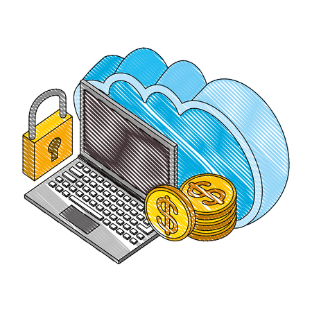 cloud storage laptop money coins and padlock isometric vector illustration drawing