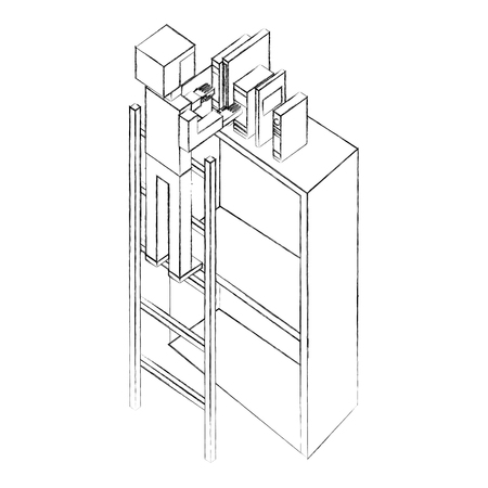 man employee in stairs putting books on bookshelf isometric vector illustration sketch Illustration