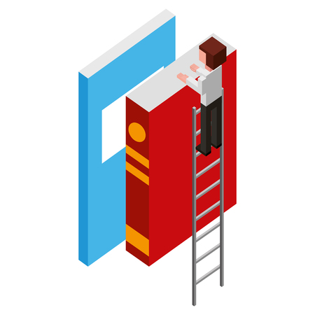 employee in stairs with books learning isometric vector illustration