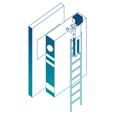 employee in stairs with books learning isometric vector illustration blue neon