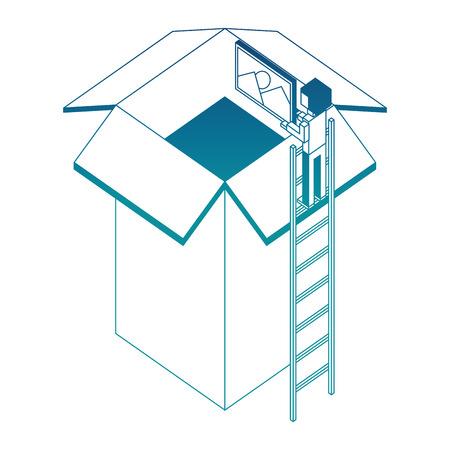 employee in stairs puts photo on cardboard box vector illustration blue neon Иллюстрация
