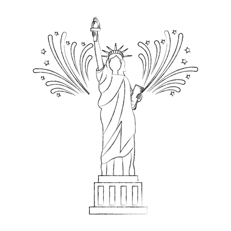 liberty statue with fireworks vector illustration design