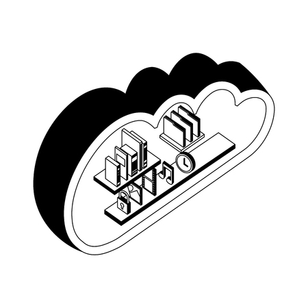 cloud storage computing books music photo file clock isometric vector illustration black and white
