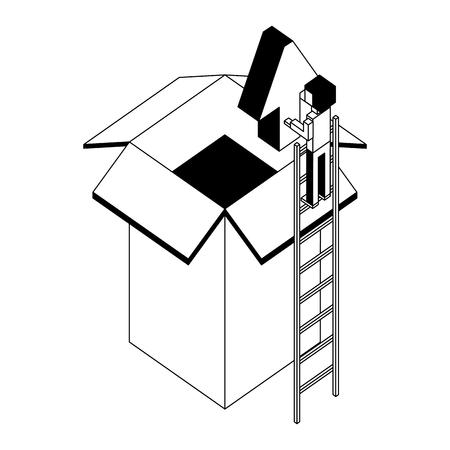 businessman holding upload arrow box storage isometric vector illustration black and white