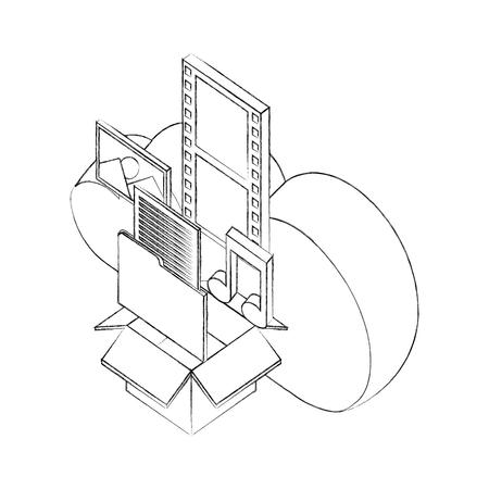 cloud storage box folder music photo social media isometric vector illustration sketch