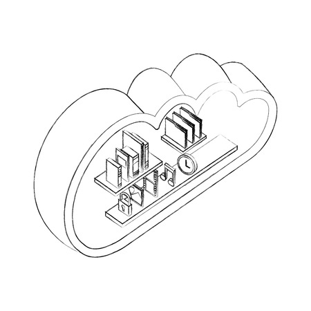cloud storage computing books music photo file clock isometric vector illustration sketch