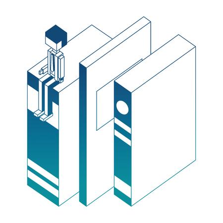 businessman sitting on books learning vector illustration blue neon Иллюстрация