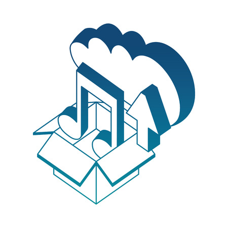 cloud storage box music and upload data isometric vector illustration blue neon