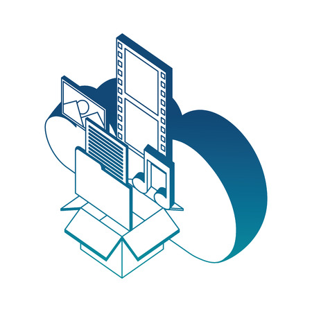 cloud storage box folder music photo social media isometric vector illustration blue neon