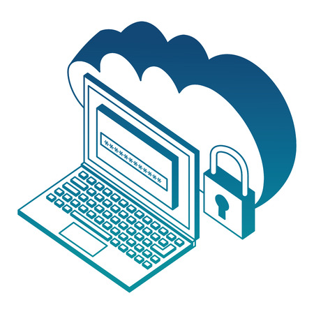 cloud storage laptop password and padlock security isometric vector illustration blue neon
