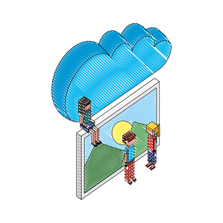 cloud storage people and photo gallery vector illustration drawing Ilustração