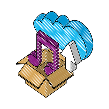 cloud storage box music and upload data isometric vector illustration drawing