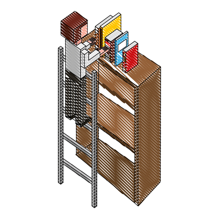 man employee in stairs putting books on bookshelf isometric vector illustration drawing Illustration