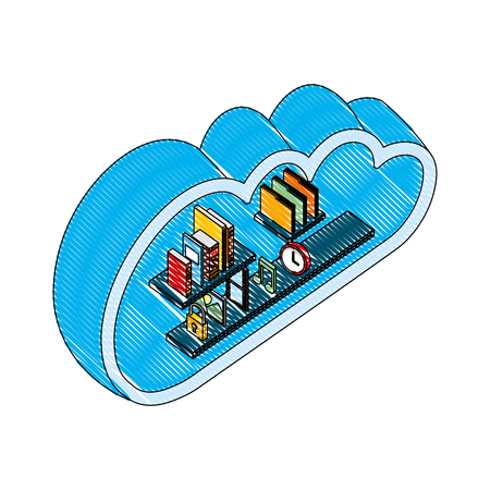 cloud storage computing books music photo file clock isometric vector illustration drawing