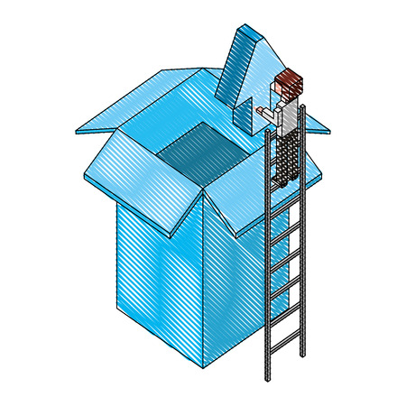 businessman holding upload arrow box storage isometric vector illustration drawing