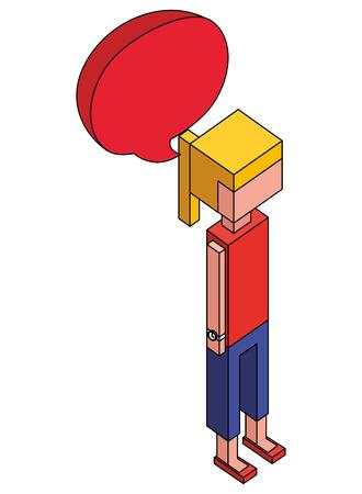 woman with speech bubble isometric avatar character vector illustration design Banco de Imagens - 102021036