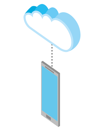 smartphone device with cloud isometric vector illustration design