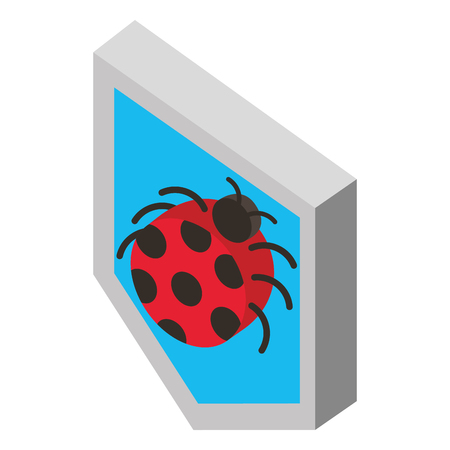 security shield with ladybug isometric vector illustration design
