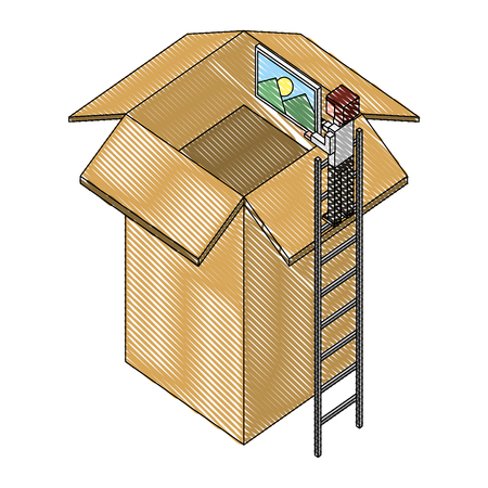 employee in stairs puts photo on cardboard box vector illustration drawing Illustration