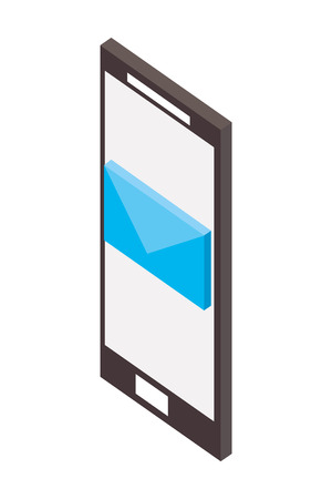 smartphone device with envelope isometric vector illustration design
