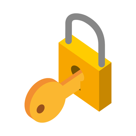 padlock and key isometric vector illustration design