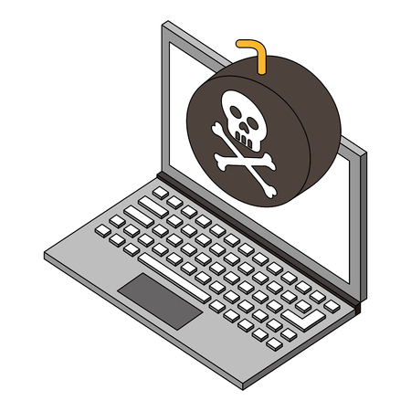 laptop bomb danger hacking isometric vector illustration Illustration
