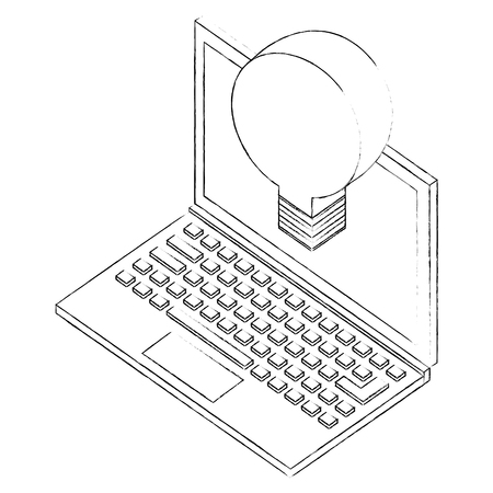 laptop with creative bulb idea isometric vector illustration sketch