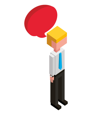 businessman with speech bubble isometric avatar character vector illustration design Banco de Imagens - 102027026