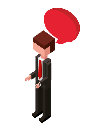businessman with speech bubble isometric avatar character vector illustration design