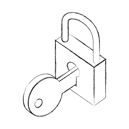 cyber security padlock key protection isometric vector illustration sketch