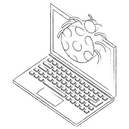 laptop virus bug attack isometric vector illustration sketch
