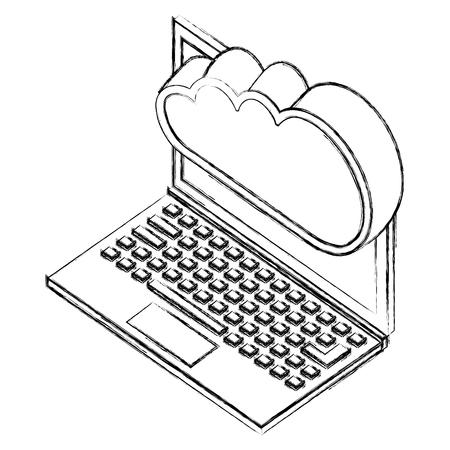 laptop cloud computing storage data server isometric vector illustration sketch Stock Photo