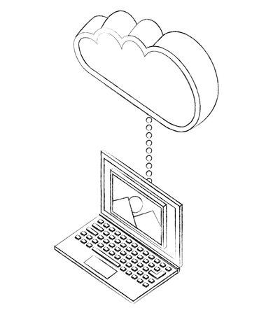 laptop device connects to cloud storage isometric vector illustration sketch