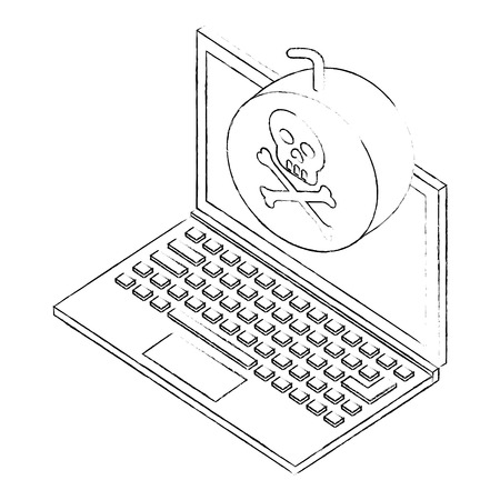 laptop bomb danger hacking isometric vector illustration sketch