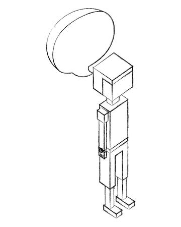 man character avatar speech bubble isometric vector illustration sketch