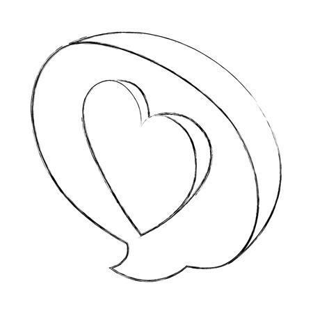 love heart speech bubble isometric vector illustration sketch