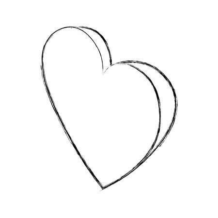 heart in love passion isometric image vector illustration sketch Illustration