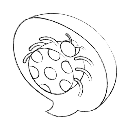virus bug infection system speech bubble isometricvector illustration sketch Illustration