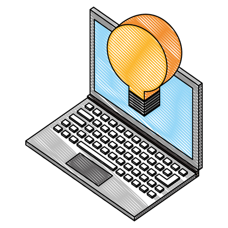 laptop with creative bulb idea isometric vector illustration drawing